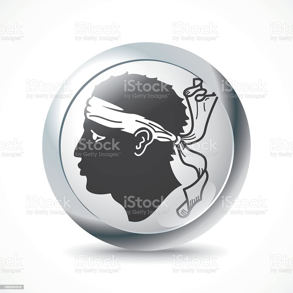 Corsica flag button vector art illustration