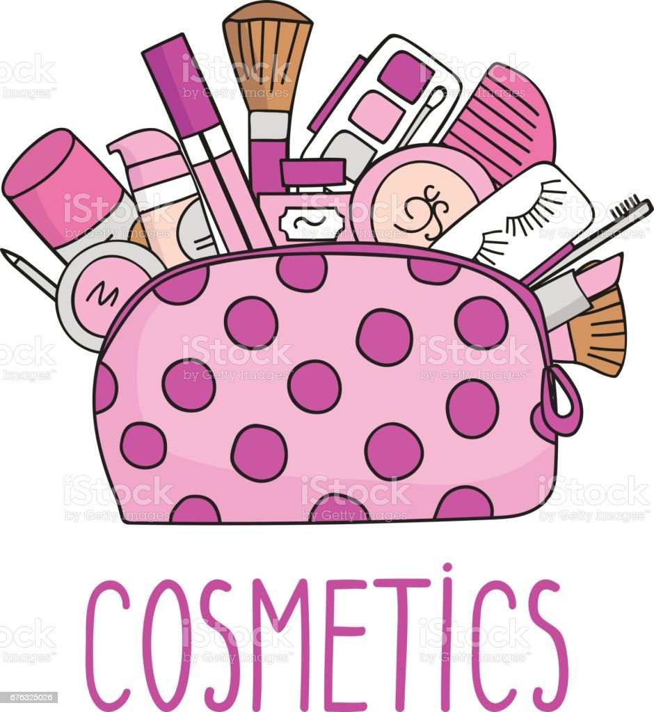 cosmetic bag with cosmetics stock vector art 676325026