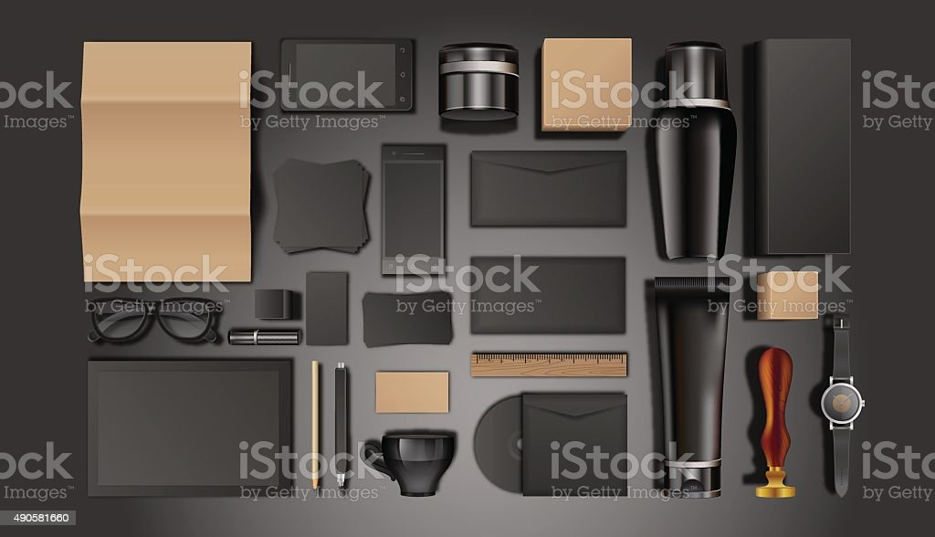 Cosmetic bottles and identity template vector art illustration