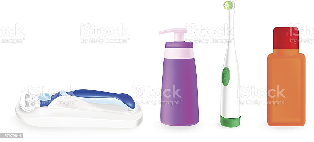 cosmetic containers, tooth brush and safety razor royalty-free stock vector art