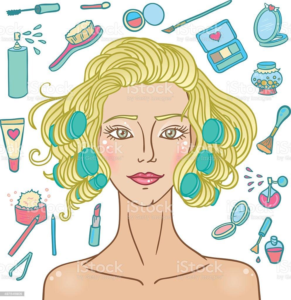 Cosmetic fashion curly girl. vector art illustration
