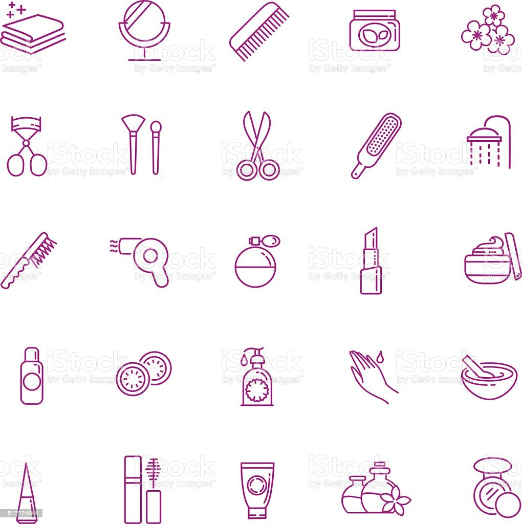 cosmetic icons vector art illustration