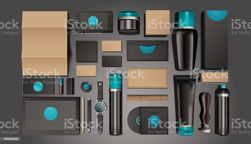 Cosmetic makeup and identity presentation vector art illustration