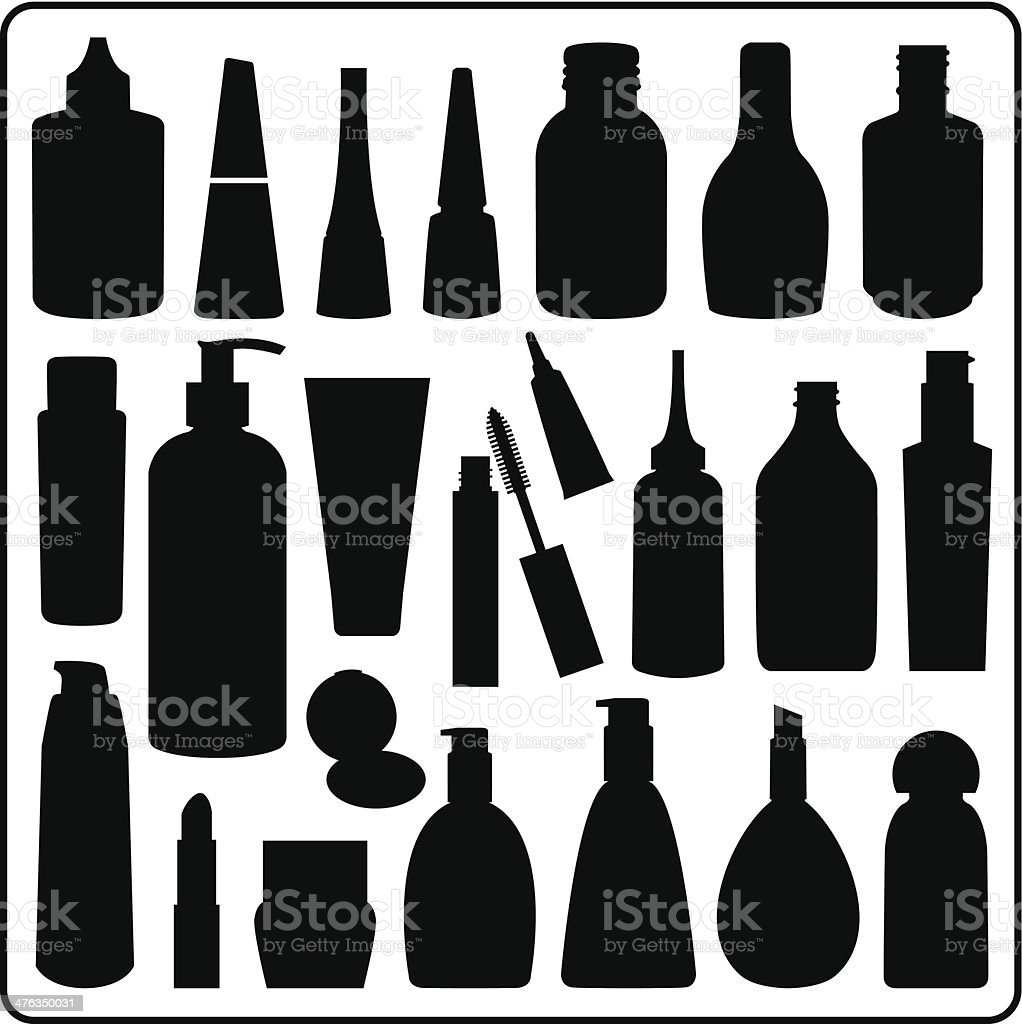 Cosmetic Materials, Black and White vector art illustration
