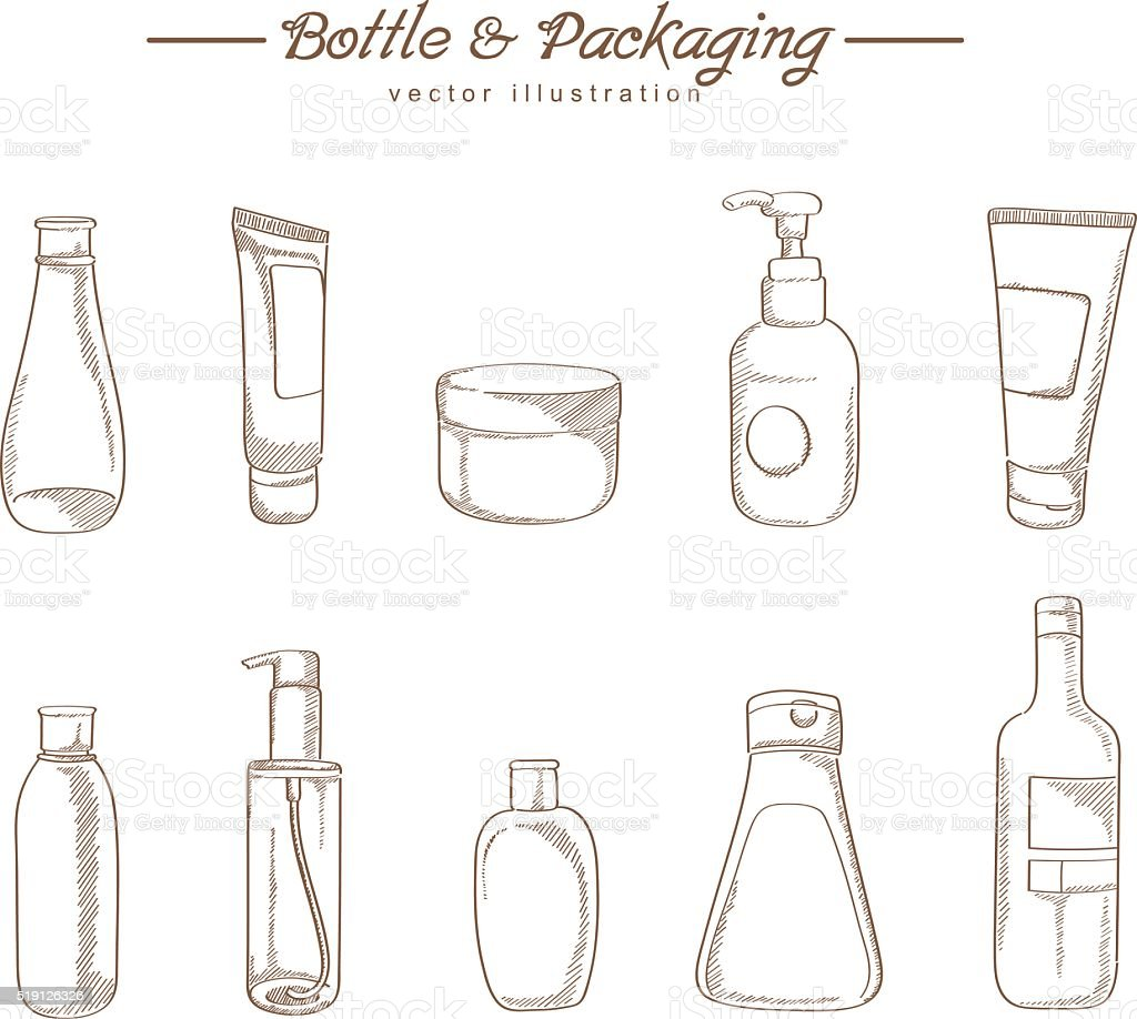 Cosmetic packaging hand drawing sketch vector art illustration