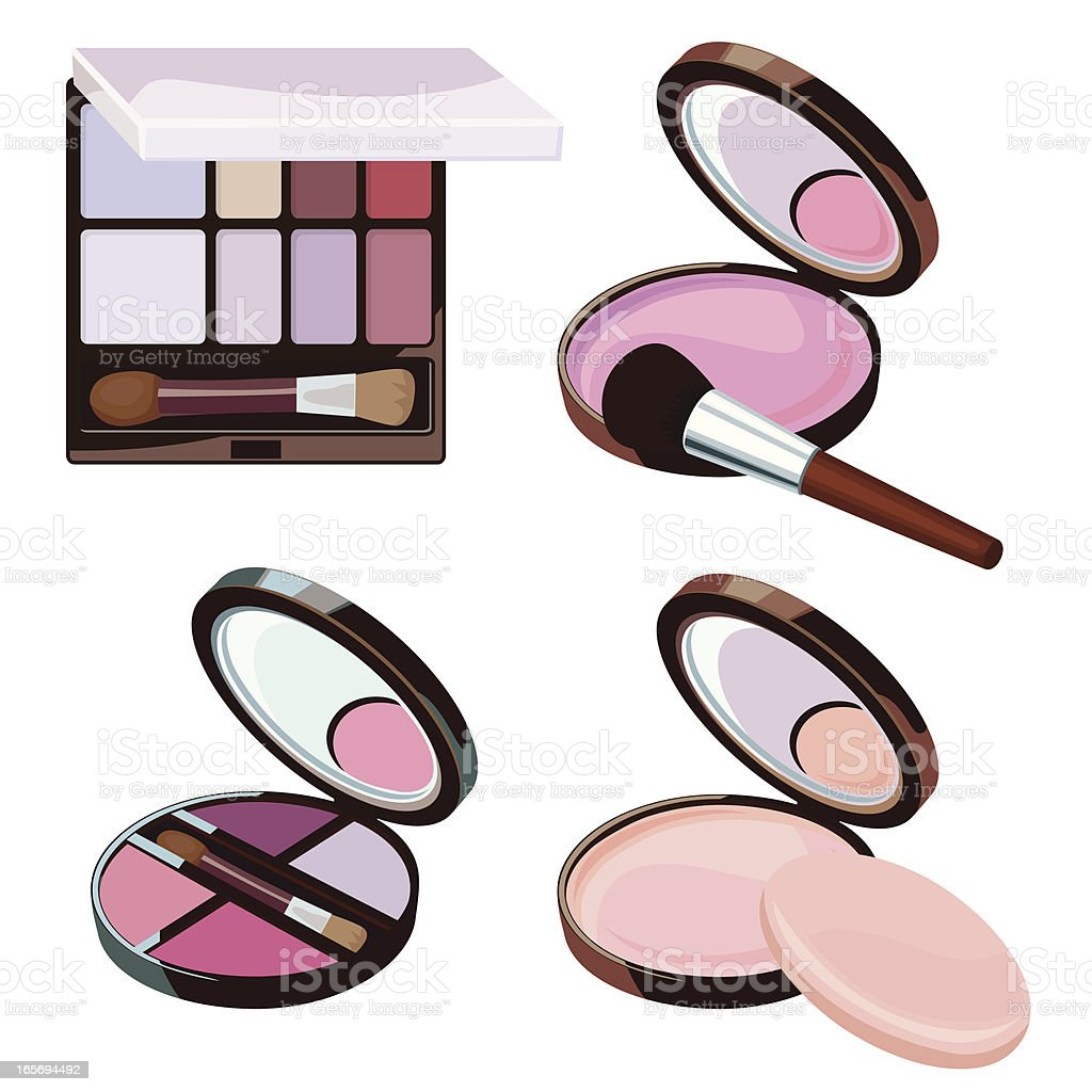 cosmetic powder collection vector art illustration