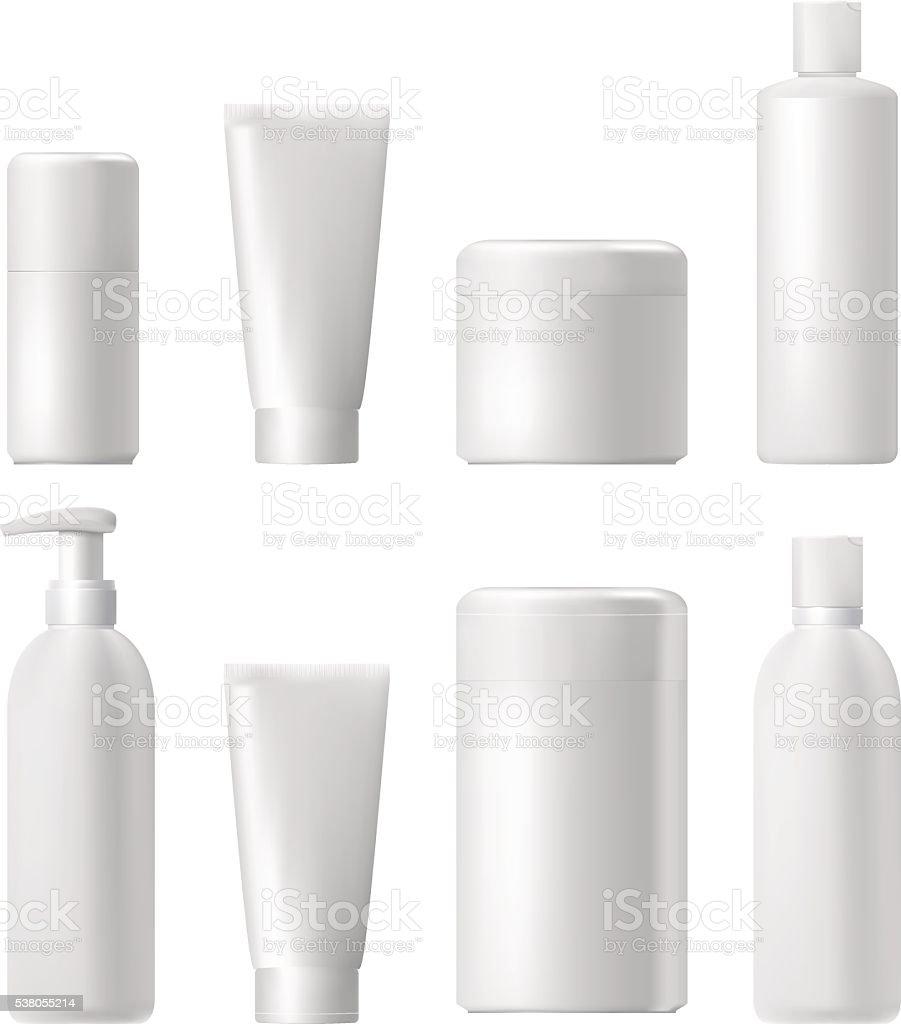 Cosmetic product. Plastic 3d bottle. Bottle template. Mockup. vector art illustration