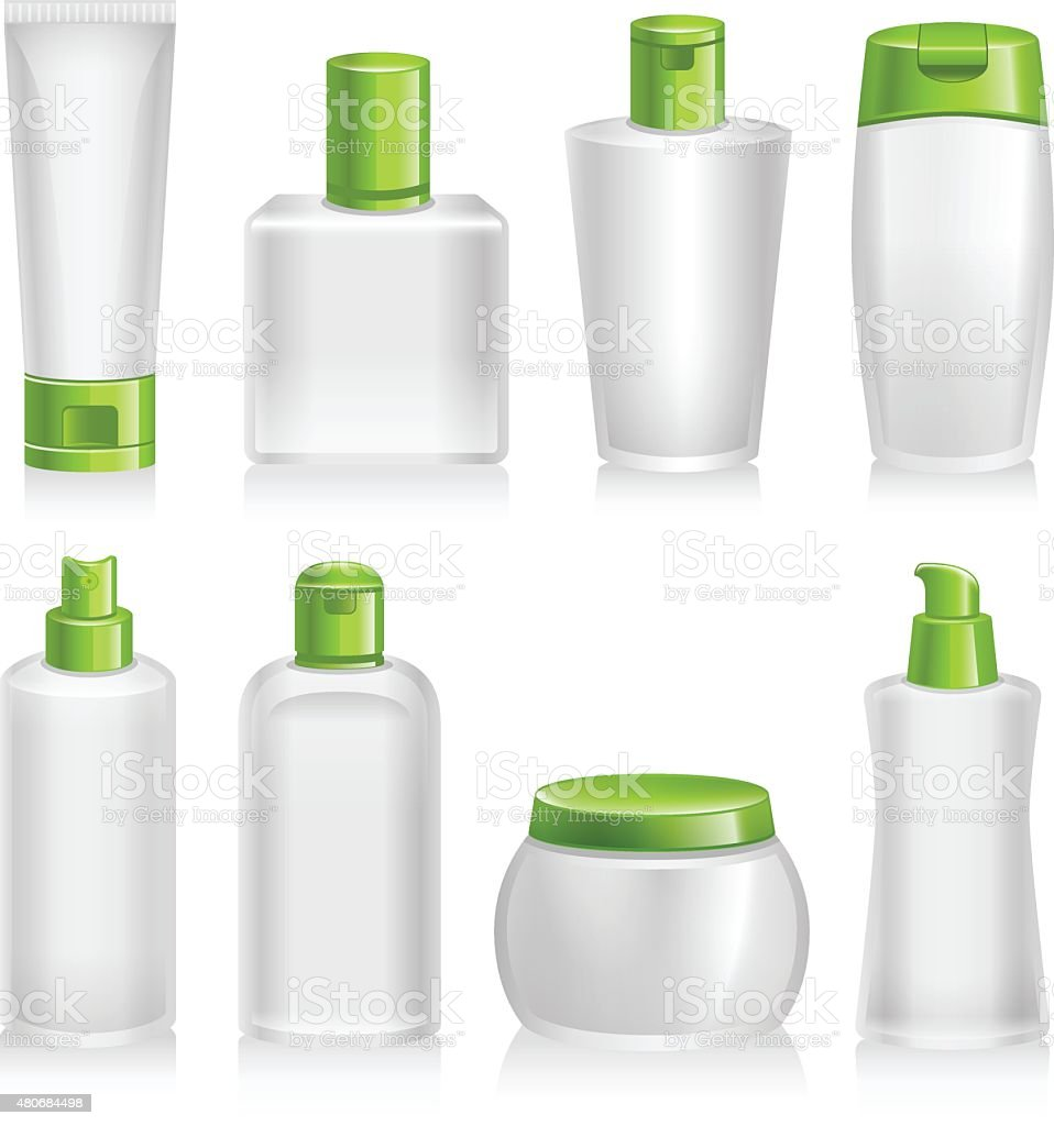 Cosmetic Products, Organic, Natural, Product Containers vector art illustration
