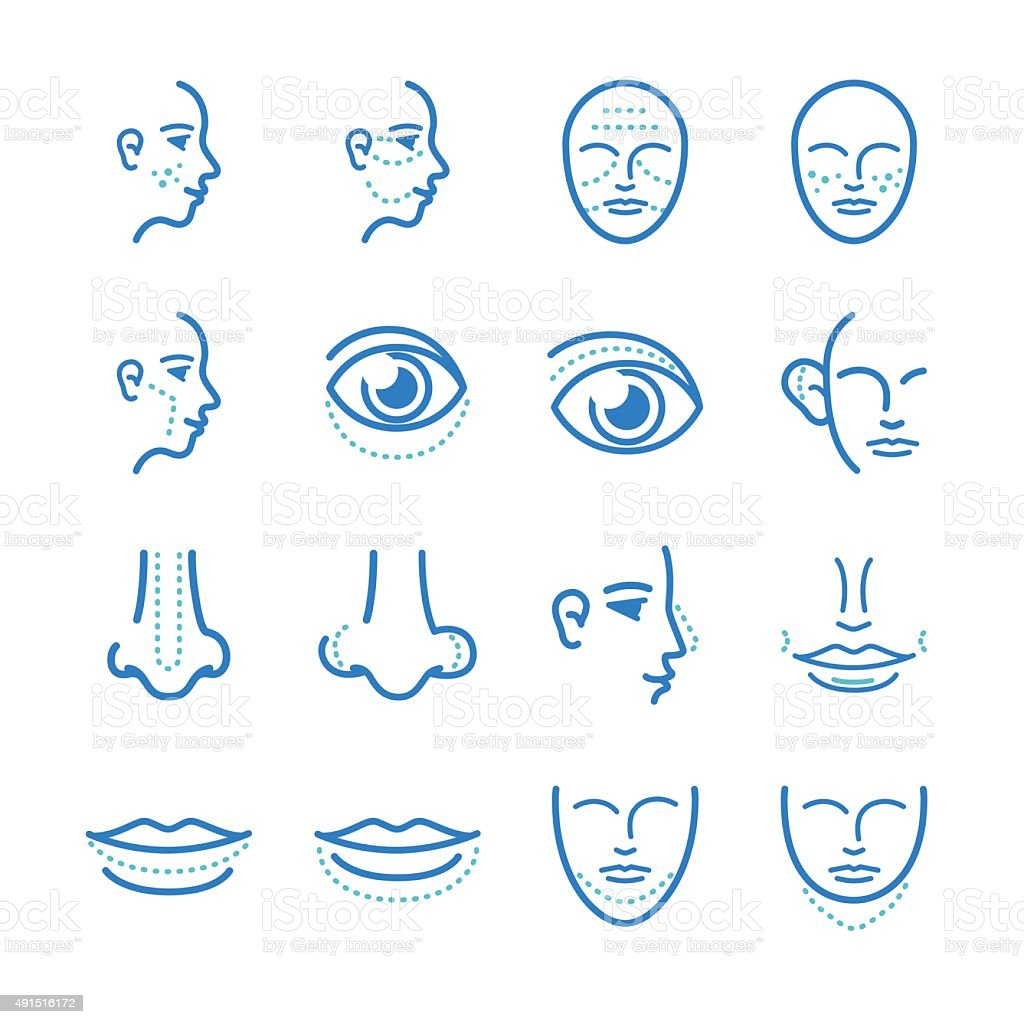 cosmetic surgery icons set vector art illustration