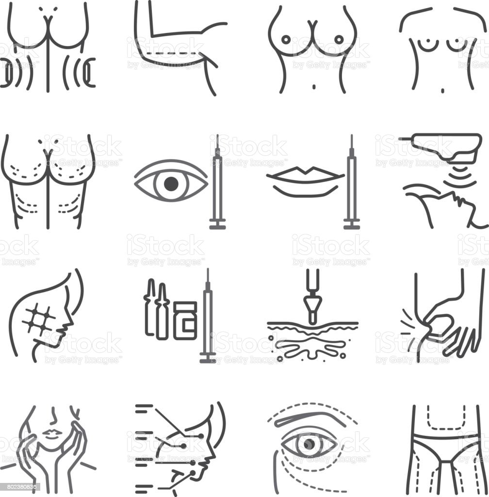 Cosmetic surgery line icon set. Included the icons as liposuction, beauty, marking, skin, Jet Peel and more. vector art illustration
