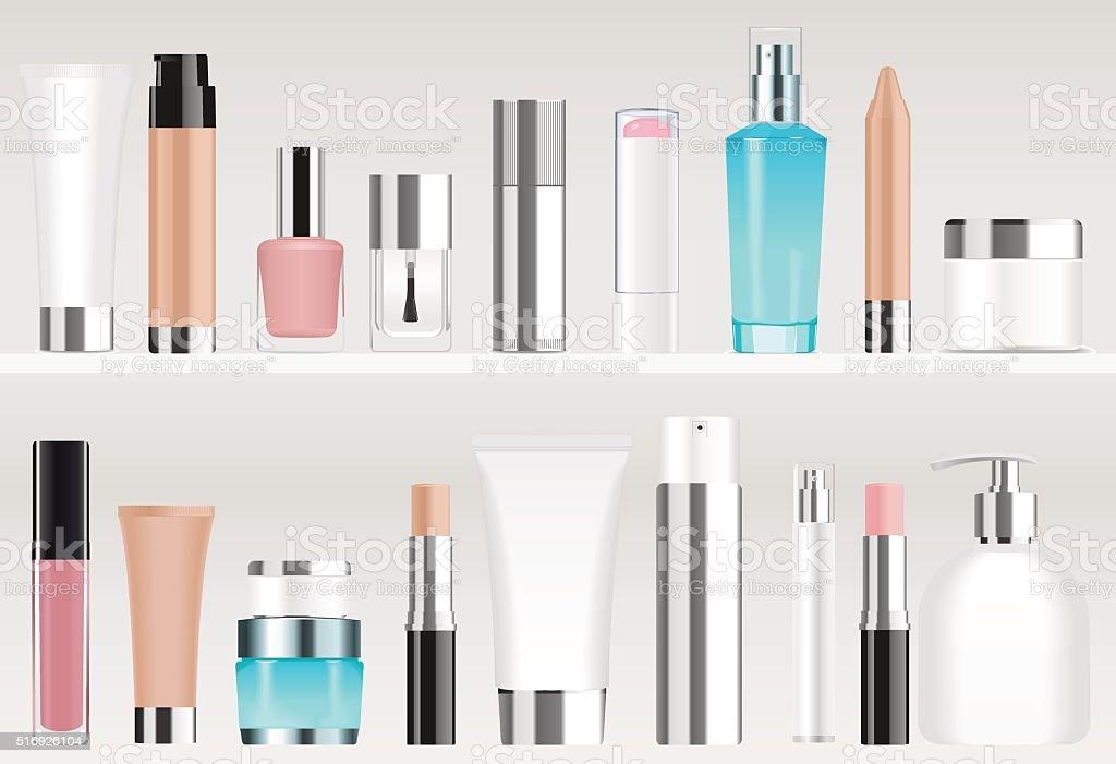 Cosmetic tubes on shelves vector art illustration