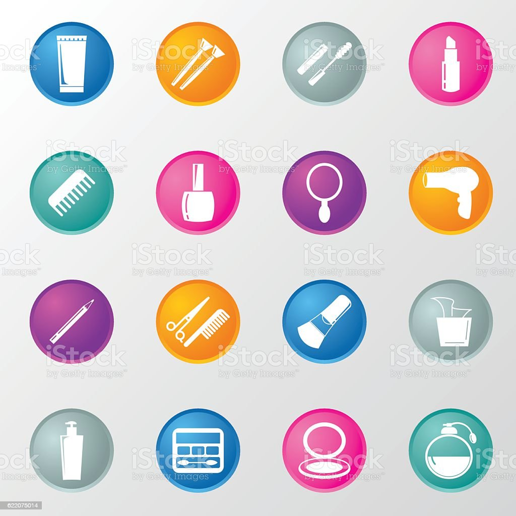 Cosmetics and Beauty Circle Color Icons vector art illustration