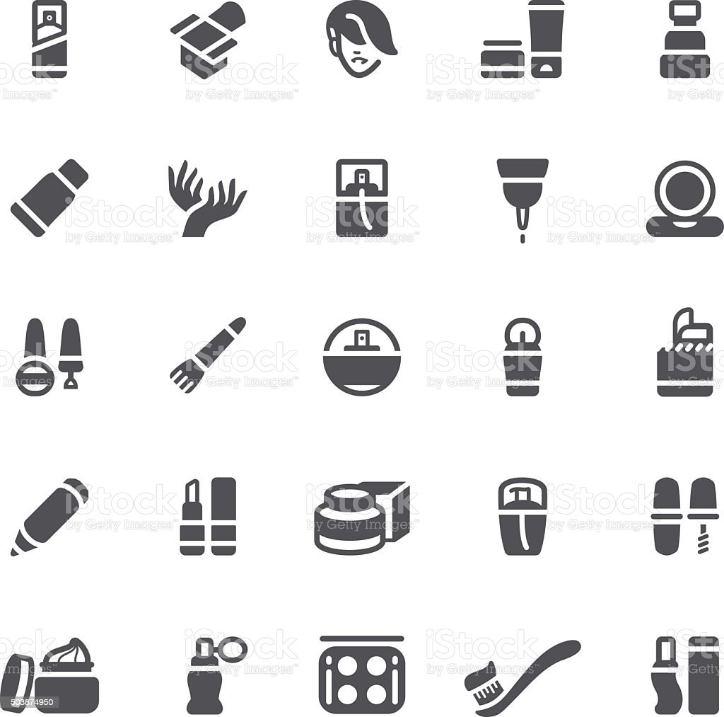 Cosmetics and beauty icons vector art illustration