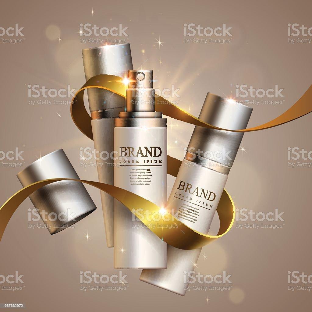 Cosmetics and decorative ribbon vector art illustration