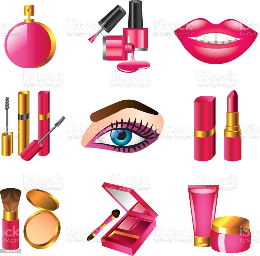 cosmetics and make up set vector art illustration