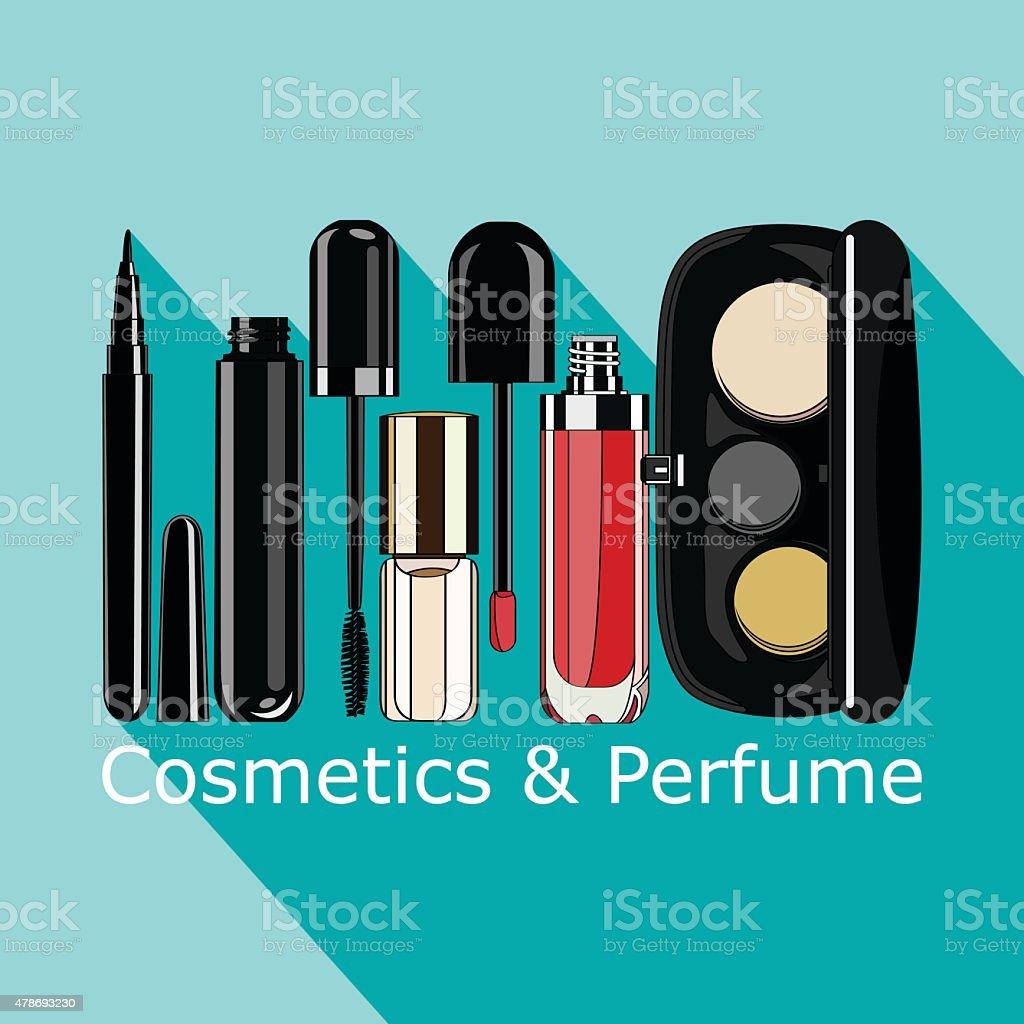 cosmetics and perfume vector art illustration