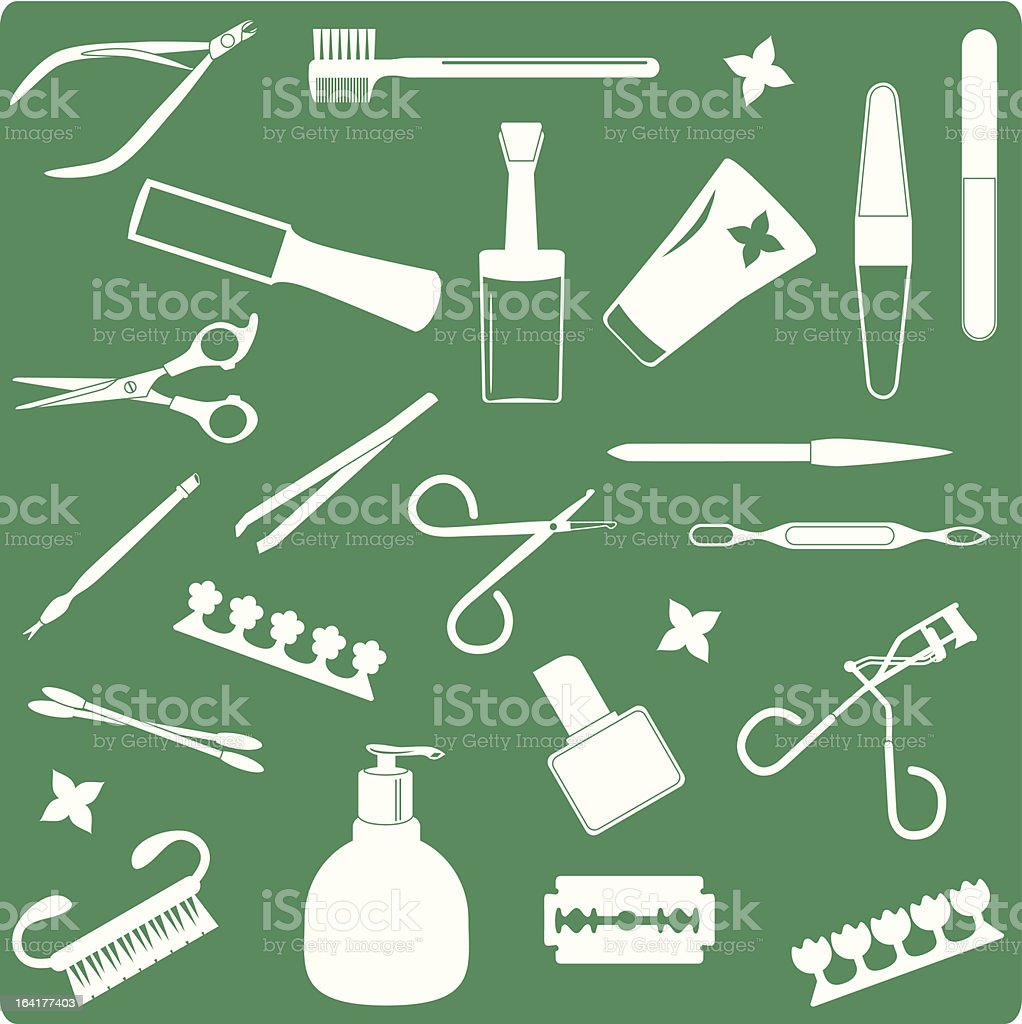 Cosmetics, Beauty Tools (Icons) - seamless background royalty-free stock vector art