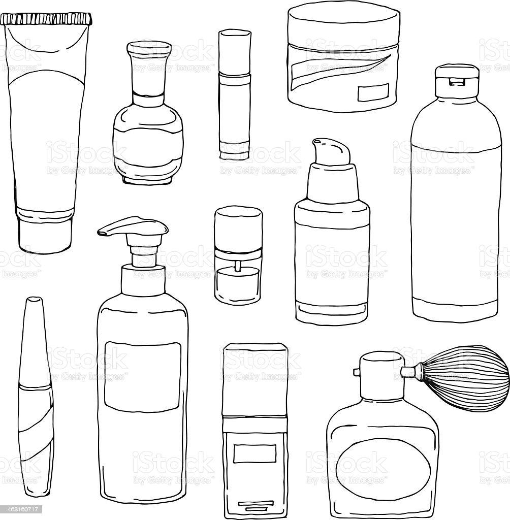 Cosmetics Bottle Set vector art illustration