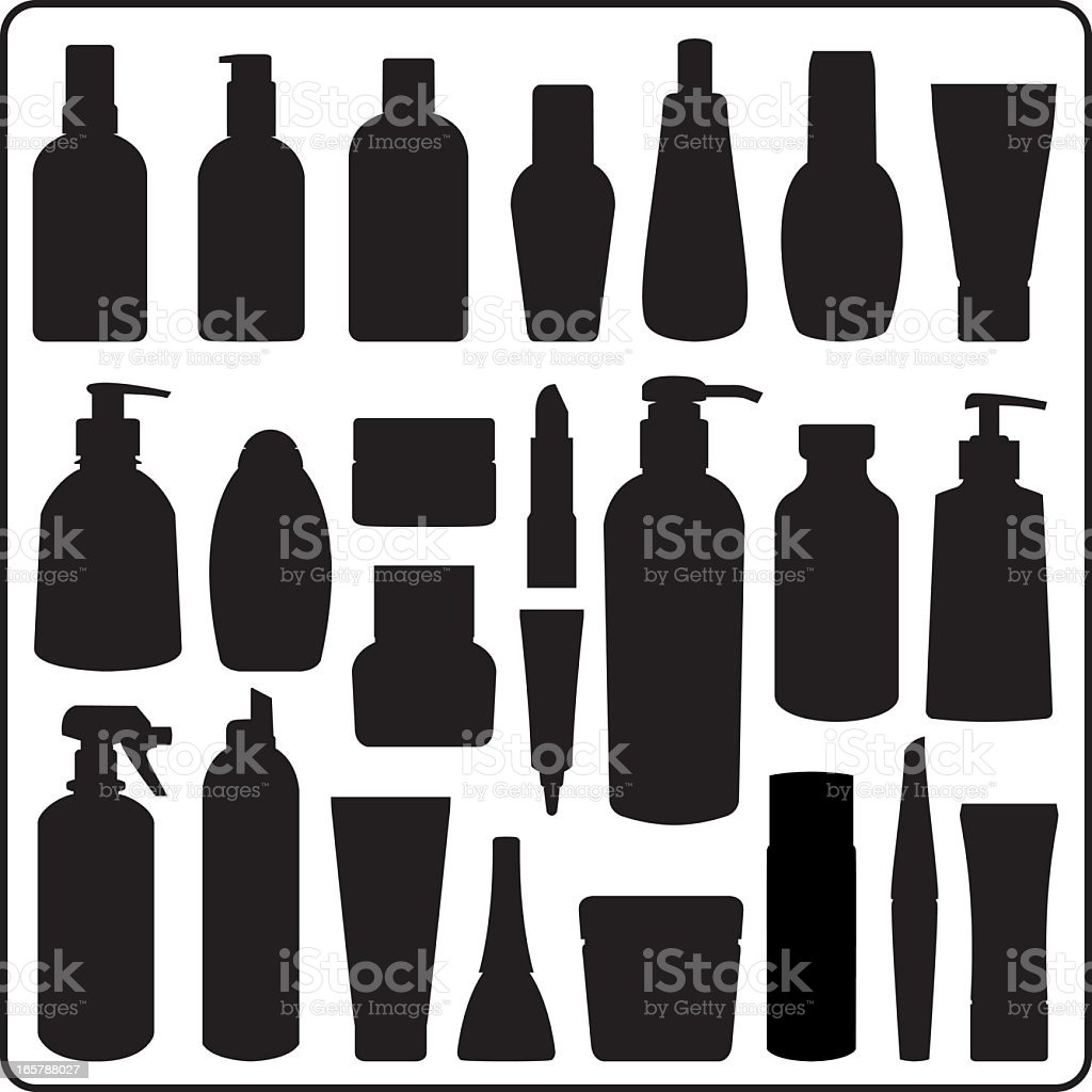 Cosmetics bottles vector art illustration