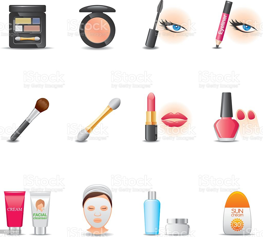 Cosmetics & Face Care Icon Set | Elegant Series vector art illustration