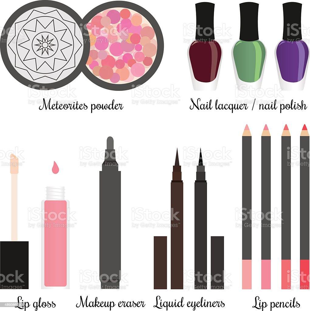 Cosmetics for a make-up set 3 vector art illustration