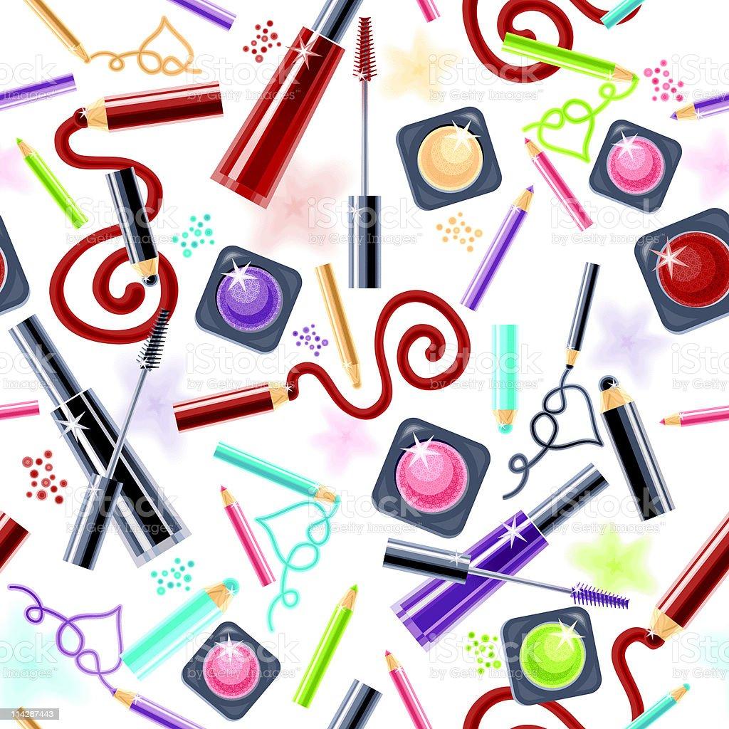 Cosmetics for Eyes. Pattern. (White) vector art illustration