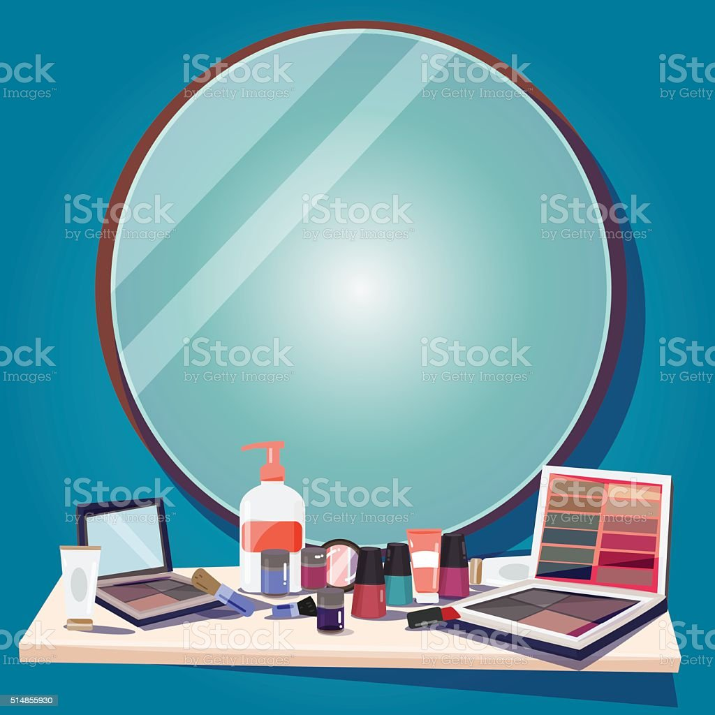 cosmetics for makeup and mirror to replace your text vector art illustration