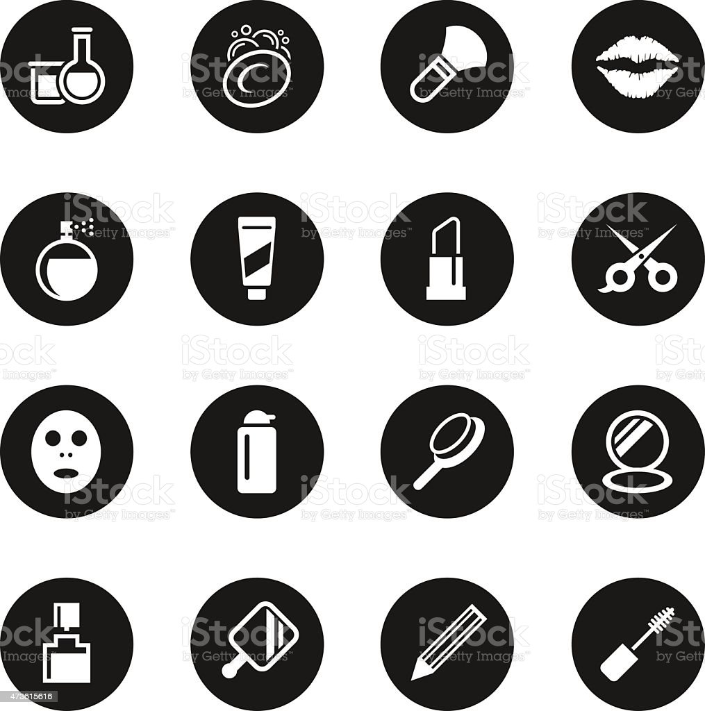 Cosmetics Icons - Black Circle Series vector art illustration