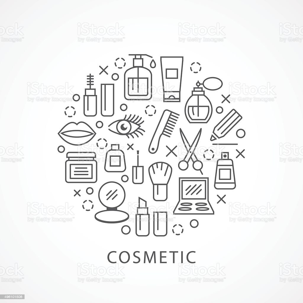 Cosmetics illustration with icons and signs vector art illustration