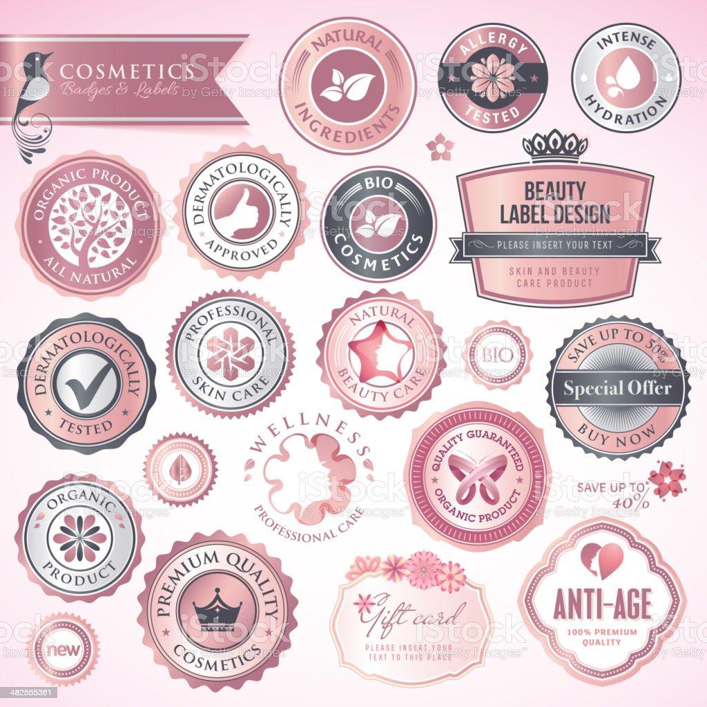 Cosméticos etiquetas y distintivos illustracion libre de derechos libre de derechos