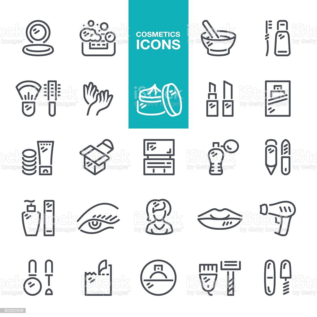 Cosmetics line icons vector art illustration
