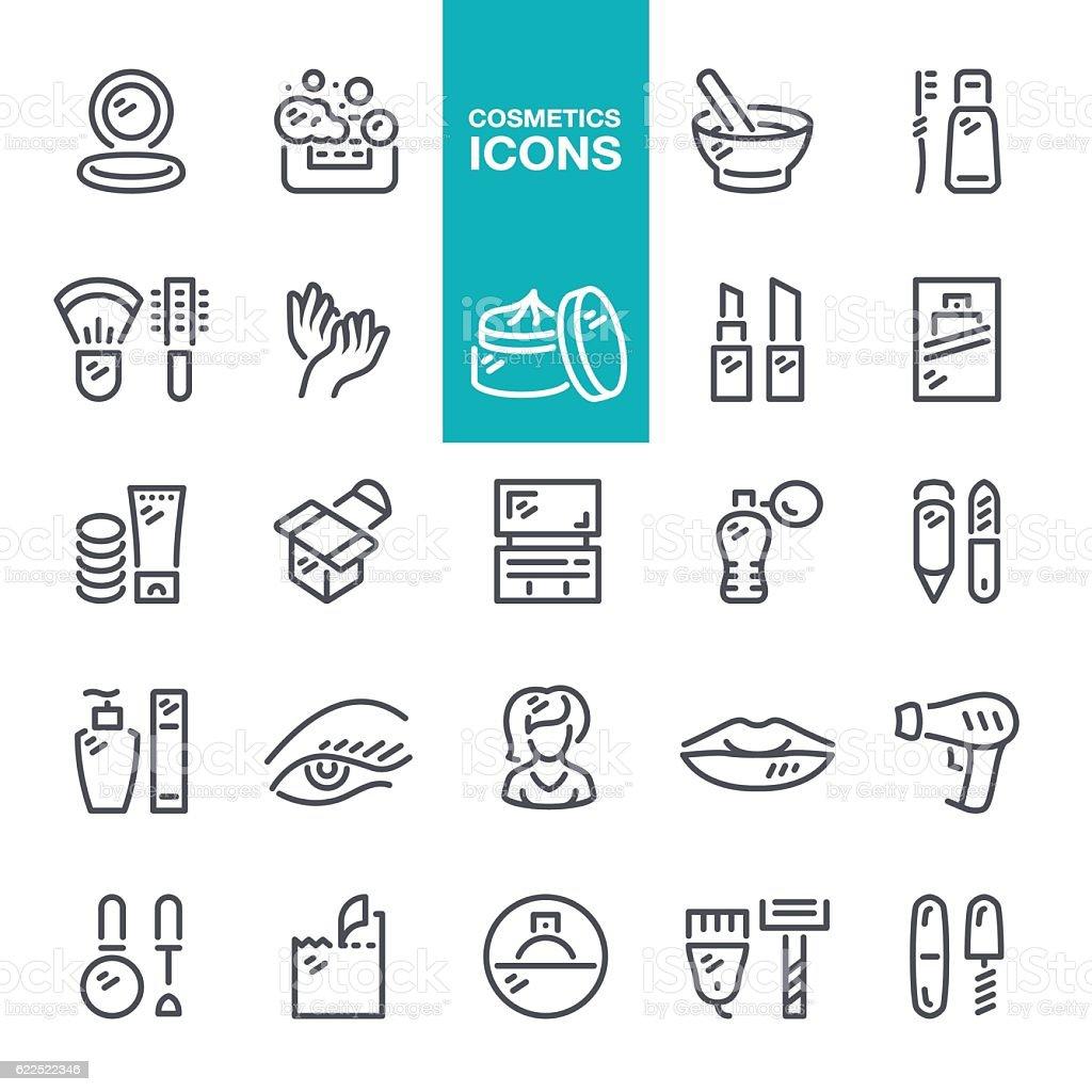 Cosmetics line icons vector art illustration