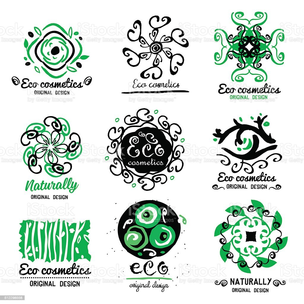 ECO cosmetics logo. Ornament handmade ECO-Logo. Natural cleansers, cosmetics. vector art illustration