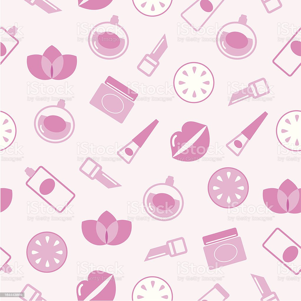 Cosmetics seamless pink pattern or texture, background royalty-free stock vector art