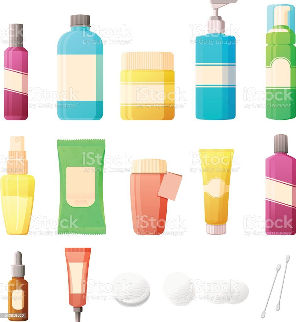 Cosmetics Set in flat style. Bottles of cosmetics and accessories, vector art illustration