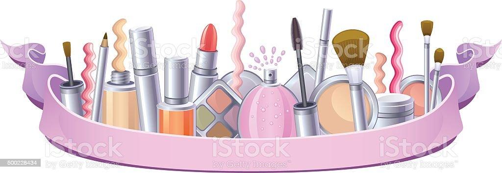 Cosmetics set vector art illustration