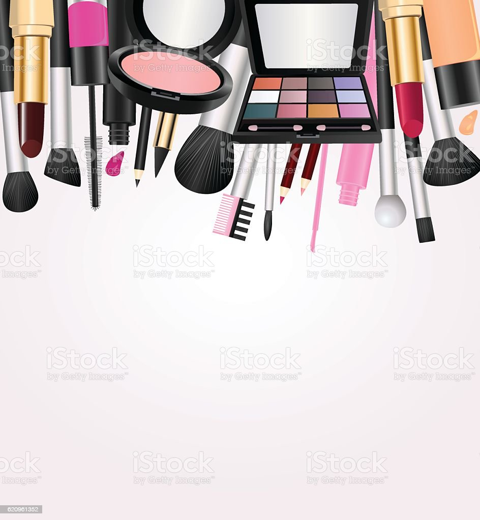 Cosmetics With Text Space vector art illustration