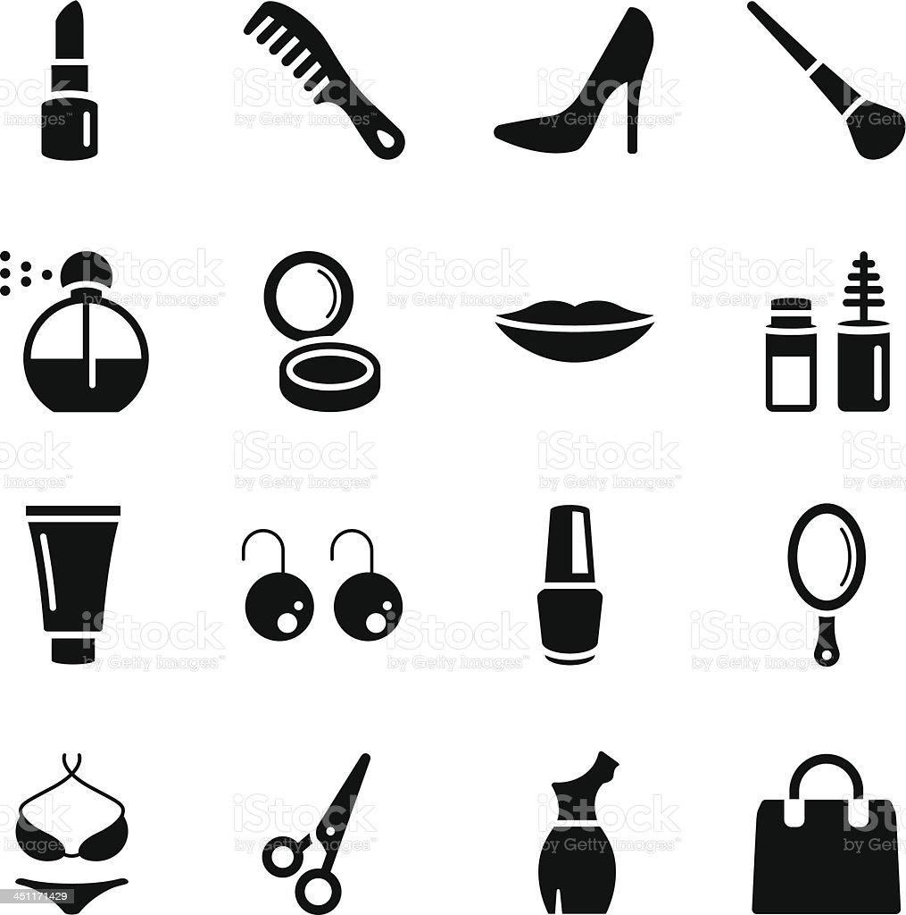 Cosmetics Woman's Beauty Icons royalty-free stock vector art