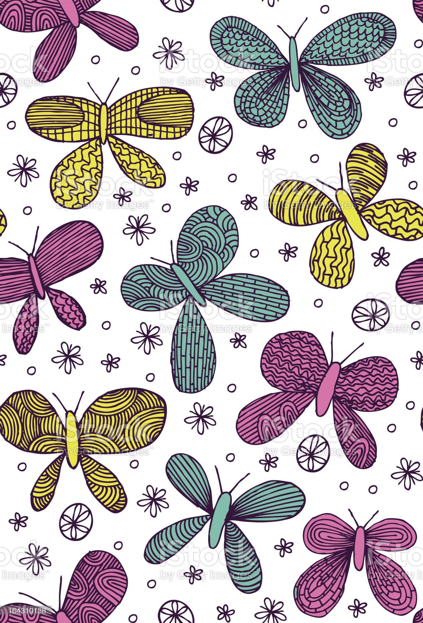 Cosmic Butterflies Seamless Pattern royalty-free stock vector art