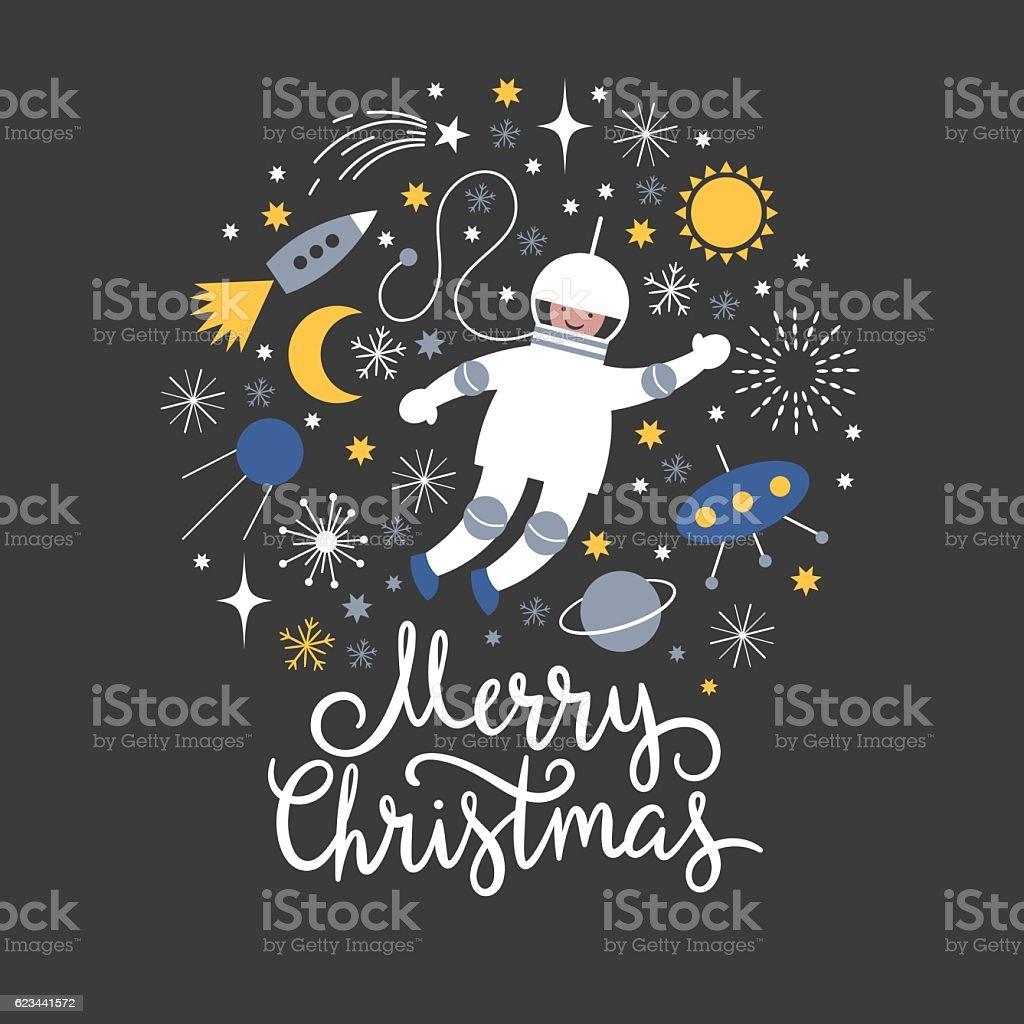 Cosmonaut in open space vector art illustration