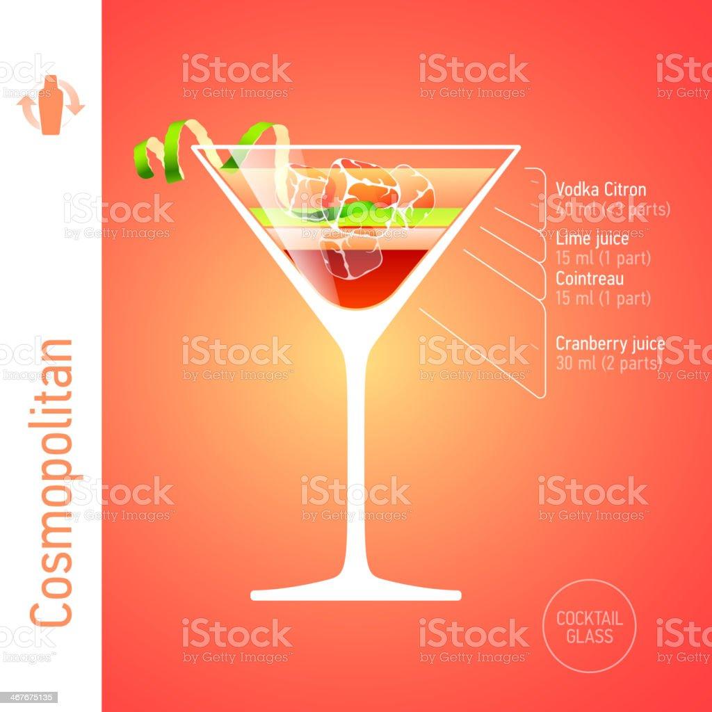 Cosmopolitan cocktail vector art illustration