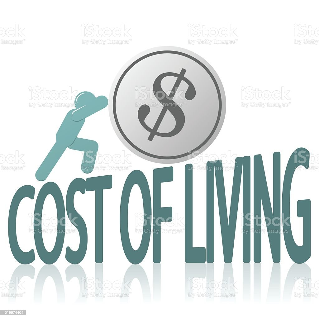 Cost of Living and Human Figure Pushing Coin vector art illustration