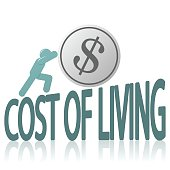 Cost of Living and Human Figure Pushing Coin