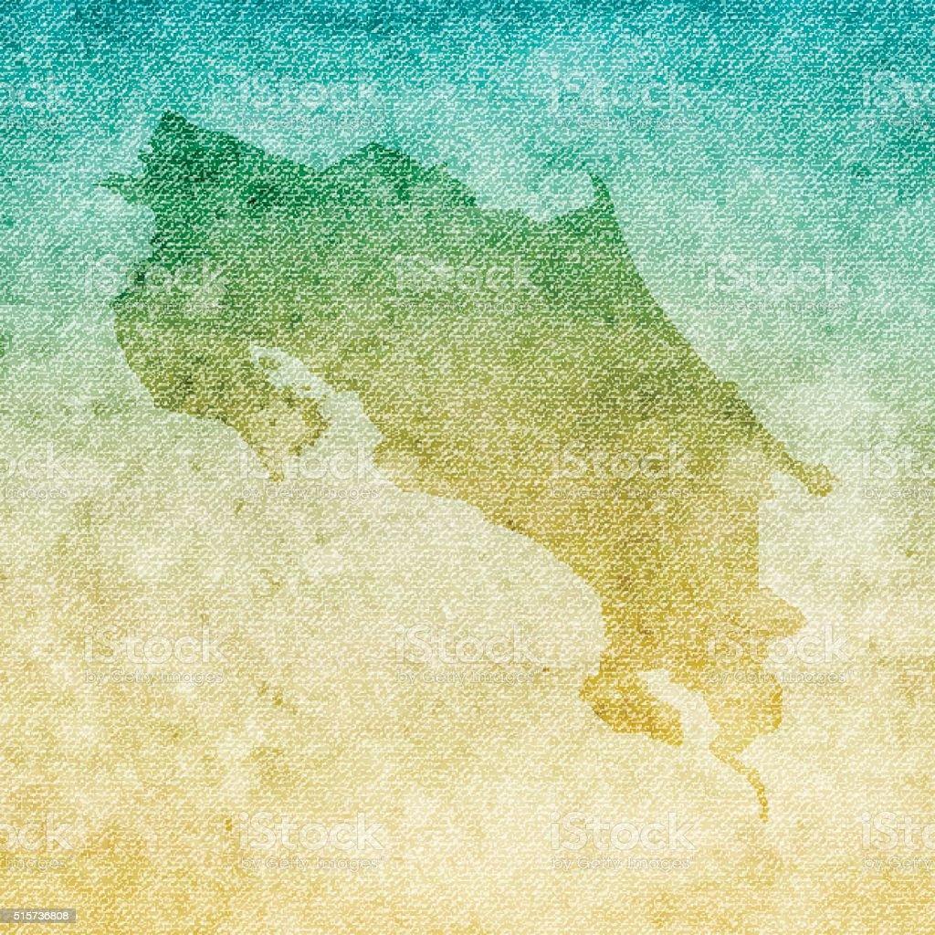 Costa Rica Map on grunge Canvas Background vector art illustration