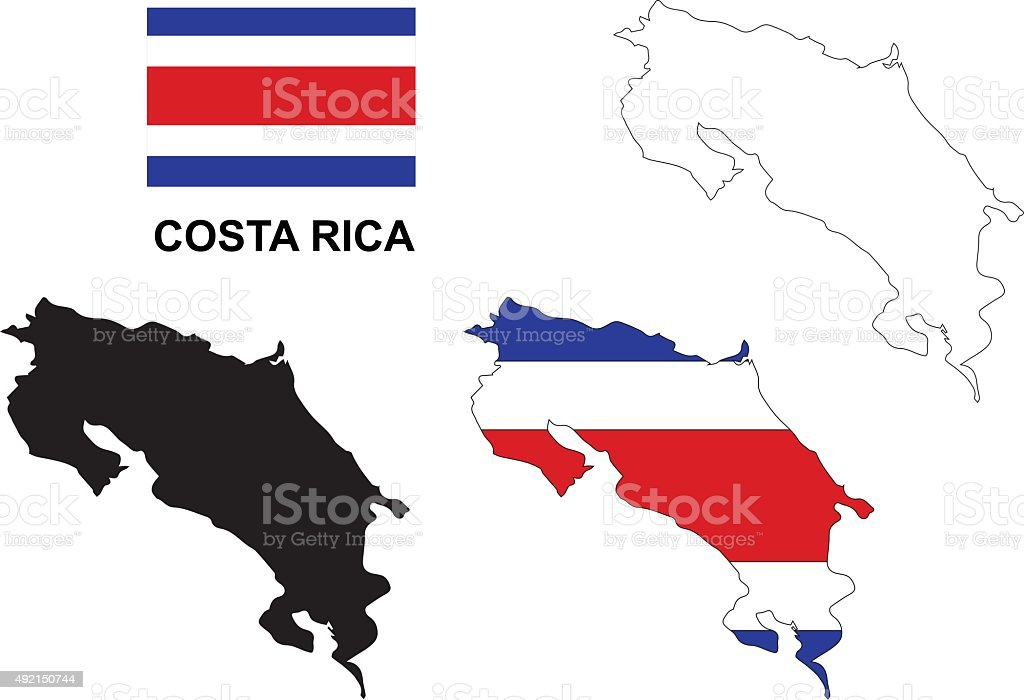 Costa Rica map vector, Costa Rica flag vector vector art illustration