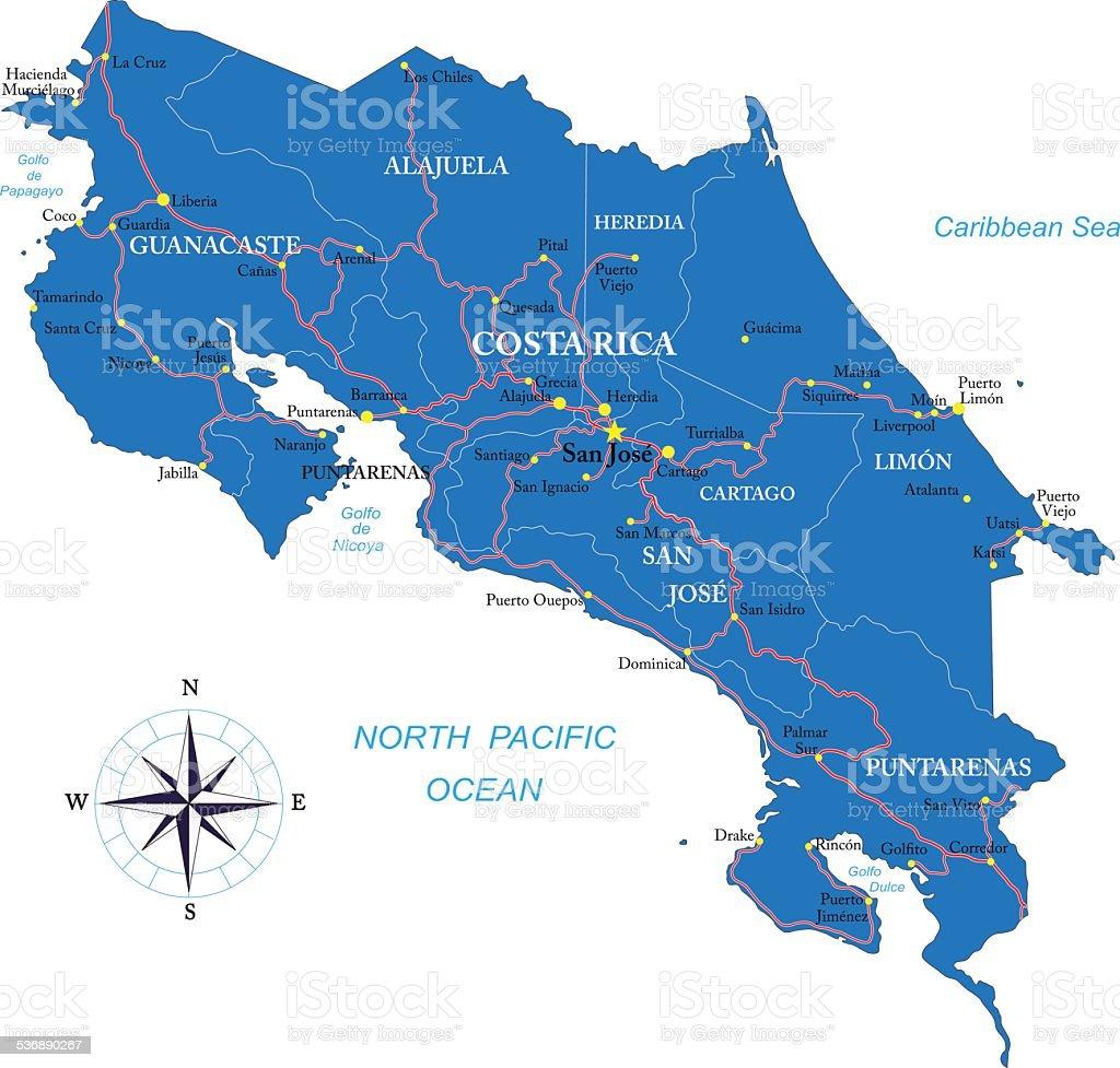 Costa Rica map vector art illustration