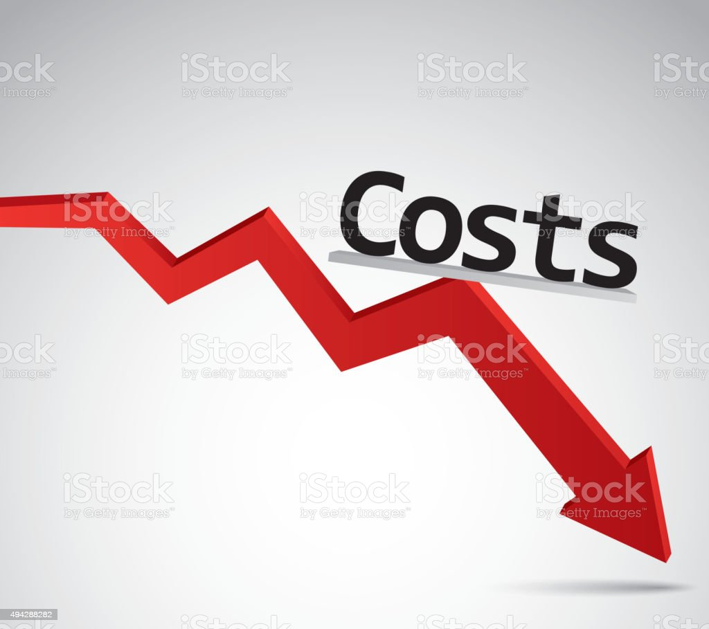 Costs decline vector art illustration