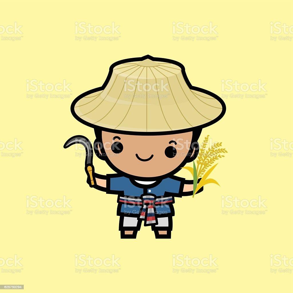 Costume of Thai farmer vector art illustration