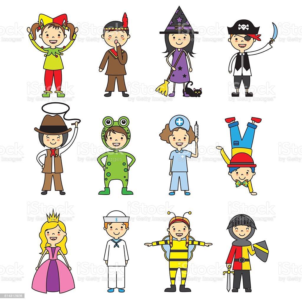 costumed children set vector art illustration