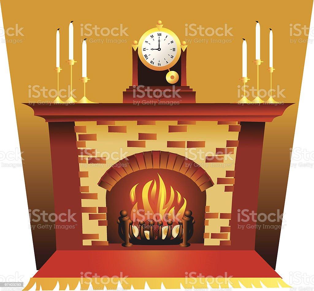 Cosy fireplace vector art illustration